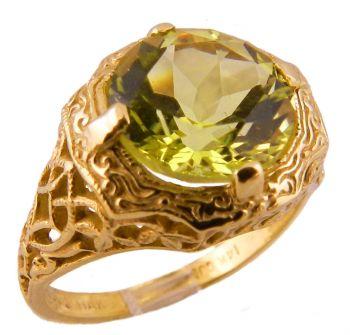 14k Yellow Gold Antique Style Filigree 3.20ct Lemon Quartz Ring