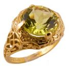 14k Yellow Gold Antique Style Filigree 3.20ct Lemon Quartz Ring