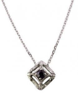 14k White Gold Art Deco Style Sapphire Filigree Slide Pendant w/ Chain