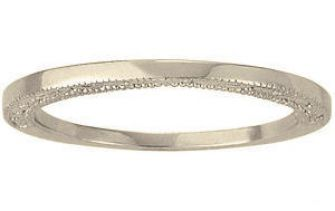 18k White Gold Vintage Style 1.5mm Wide Polished Top w/ Embossed Side Wedding Band