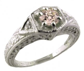 Art Deco Style Sterling Silver Filigree .25ct European Cut Cubic Zirconia Ring