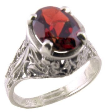 Antique Style Sterling Silver Filigree 1.50ct Oval Mozambique Garnet Ring