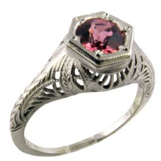 Antique Style Sterling Silver Filigree .75ct Pink Tourmaline Ring