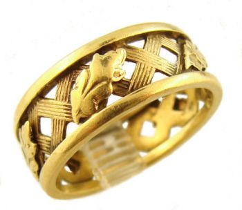 14k Yellow Gold Vintage 7.0mm Oak leaf & Trellis Pattern Wedding Band
