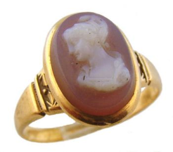 10k Rose Gold Antique Mauve Colored Hard Stone Cameo Ring