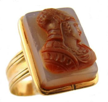 Antique Hardstone Cameo Ring - 10k Rose Gold Roman Warrior