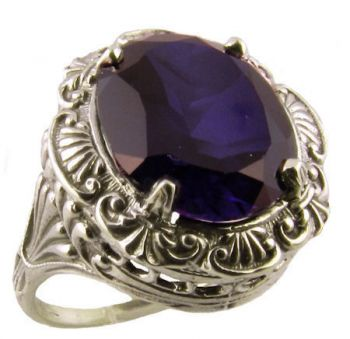 Antique Style Sterling Silver Filigree 5.0ct Oval Imitation Sapphire Ring
