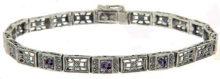 Art Deco Style Sterling Silver Amethyst Filigree Link Bracelet