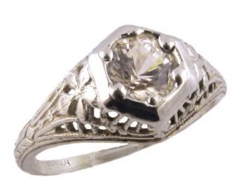Antique Style Sterling Silver Filigree .63ct Cubic Zirconia Ring
