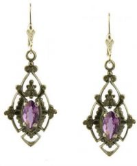 Antique Style Scroll Work Dangle 3.2ct Amethyst Earrings