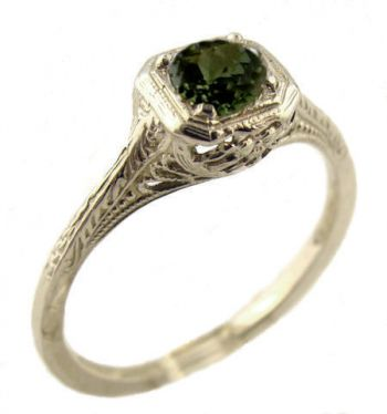 Vintage Style Sterling Silver Filigree .50ct Green Tourmaline Ring