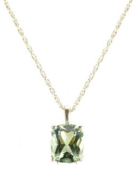 Vintage Style 5.4ct Green Amethyst Scroll Pendant w/ Chain in Sterling Silver
