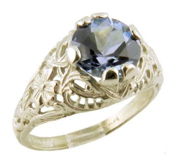 14k White Gold Antique Style Filigree 1.00ct Aquamarine Ring