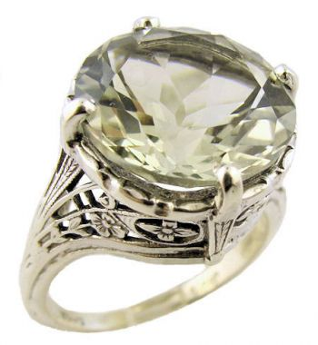 Antique Style Sterling Silver Filigree 7.35ct Green Quartz Ring