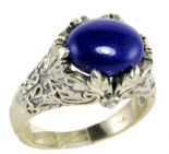 Vintage Style Sterling Silver Oak Leaf Lapis Lazuli & Seed Pearl Ring