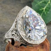 Antique Style Sterling Silver Filigree 5.75ct Pear Shaped Cubic Zirconia Ring