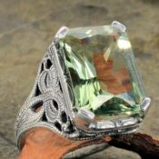 Antique Style Sterling Silver Filigree 6.70ct Radiant Cut Green Quartz Ring