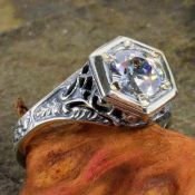 Antique Style Sterling Silver Filigree .85ct European Cut Cubic Zirconia Ring