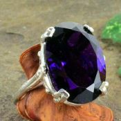 Vintage Style 11.00ct Simulated Amethyst Ring in Sterling Silver