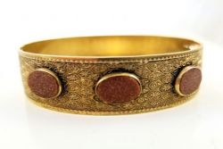 Vintage Victorian Revival Goldstone Patterned Bangle Bracelet