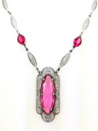 Art Deco Hot Pink Crystal Glass Filigree Necklace
