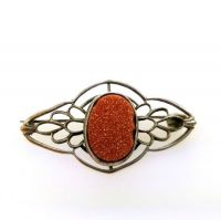 Antique Goldstone Filigree Brooch | Early 1900s Goldstone Silver Plated Pin