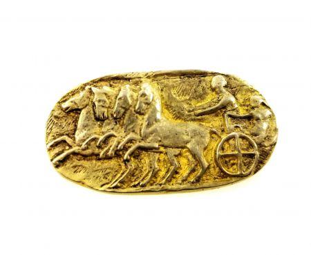 Vintage 835 Silver Goddess Nike Charioteer Brooch   Vermeil Goddess of Victory Pin