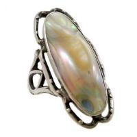 Art Nouveau Sterling Silver Filigree Blister Pearl Ring | Size 5