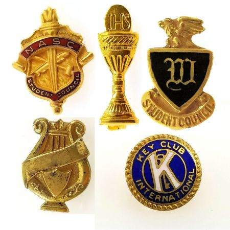 Vintage 1970's Student Council, IHS, Band Lyre and Key Club Pins | Gold Filled School Pin