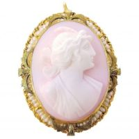 Antique 10k TT Gold Pink Shell Cameo of Goddess Ceres with Seed Pearls