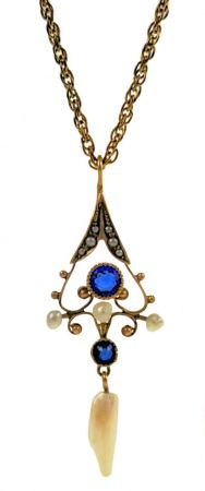 Antique 10k Filigree Seed Pearl and Sapphire Doublet Lavaliere on GF Chain