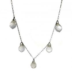 Art Deco Crystal Briolette Drop Necklace | Antique Faceted Crystal Drop Fringe Necklace
