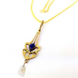 Art Nouveau 10k Filigree Imitation Pearl and Sapphire Lavaliere on GF Chain