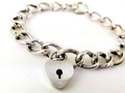 Antique Sterling Padlock Charm Bracelet | HF Barrows Heart Padlock Bracelet