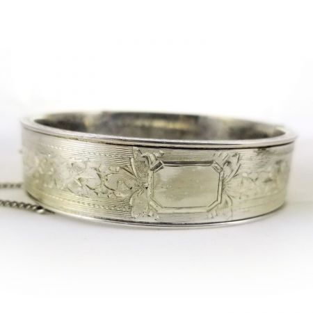 Art Deco Dunn Bros Sterling Silver Floral Bangle Bracelet | Engraved Hinged Bangle