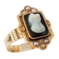 Antique 10k Rose Gold Hardstone Cameo and Seed Pearl Ring | Queen Elizabeth Cameo
