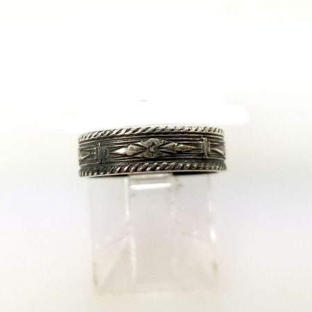 Antique Style 4.2mm Patterned Pinky Ring - Midi Band in Sterling Silver - Sz 1 3/4