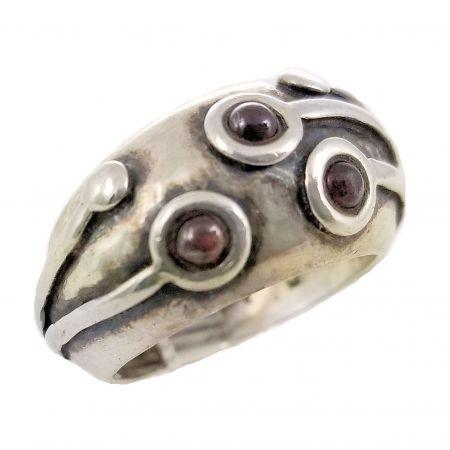 Vintage Sterling Silver Artisan Garnet Dome Ring | Modernist Designed Garnet Ring
