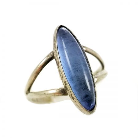 Sterling Silver Vintage Blue Cabochon Hand Made Ring  | Size 3 1/2