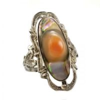 Art Nouveau Sterling Silver Scrolled Filigree Blister Pearl Ring | Size 71/2