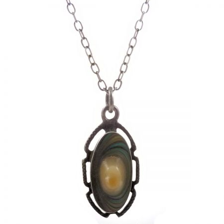 Art Nouveau Sterling Silver Blister Pearl Pendant with Chain
