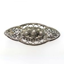 Antique 800 Silver Rosette Filigree Brooch | Victorian Silver Cannetille filigree Pin