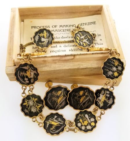 1940s Vintage AMITA Damascene Japanese Bracelet & Earrings | Original Box & Paper