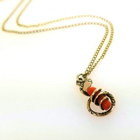 Antique Gold Filled Branch Coral Pendant | Victorian Coral Love Knot Pendant