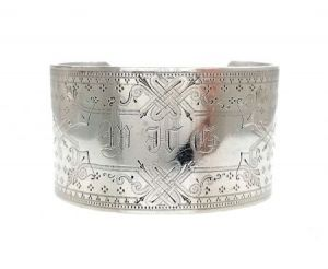 1800's Antique Coin Silver Engraved Cuff Bracelet | Victorian Silver Cuff
