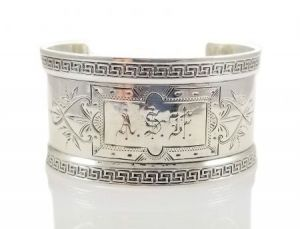 1880's Wood & Hughes Sterling Silver Greek Key Napkin Ring Cuff | Victorian Silver Cuff