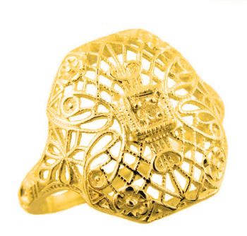 Art Deco Style Filigree 1.7mm Round Stone Ring Setting