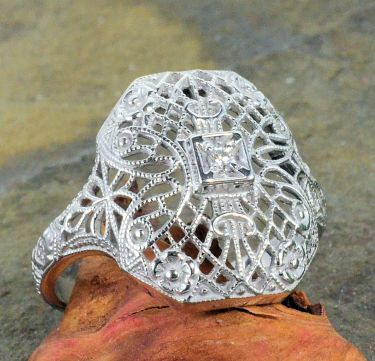 Antique Style Sterling Silver Filigree Ring Setting for 1.7mm Round Stone