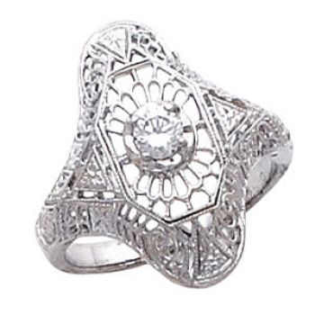 Antique Style Filigree 3.5mm Round Stone Ring Setting