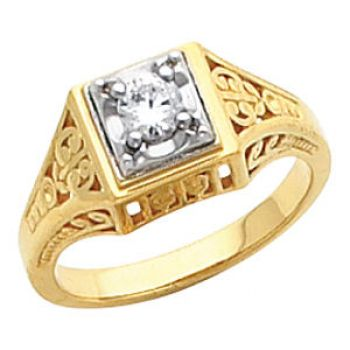 Vintage Style Filigree 3.0 to 4.0mm Round Shaped Ring Setting
